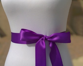 Purple Sash- 1.5in Simple Satin Sash- Wedding Belt- Bridal Sash Ready to Ship