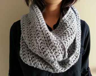Heather Gray Scarf, Infinity Scarf, Crocheted Scarf, Sale