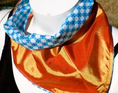 Flaming Sky: Blue and White Geometric Polka Dot Design & Lustrous Orange Reversible Bandana with Stash Pocket by BandHäna