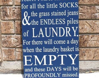 Little Ones Laundry Wood Sign - 12x18 (WxH) - Socks, Piles, Children, Empty Baskets, Growing Up