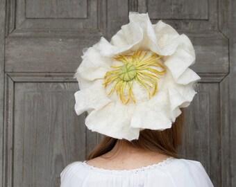 Felted floral hat, white poppy, unique fancy hat,  alternative wedding headdress, festive hat, designer unique hat, felt white bonnet, OOAK