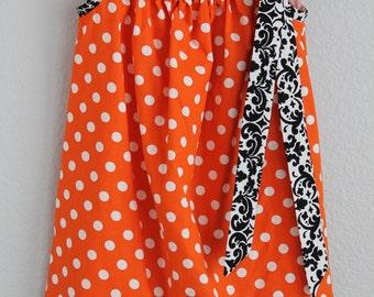 Halloween Pillowcase Dress, Orange and Black Dress Size 4T