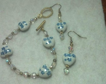 White Heart Bracelet Earring Set