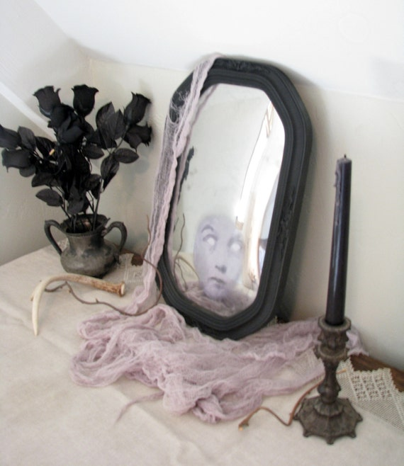 Creepy Haunted Ghost Mirror Spooky Halloween Decor Black