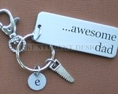 Personalized Dad Key Chain Customized with Your Initial