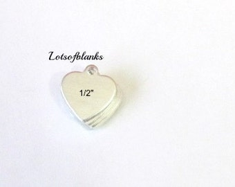 Heart Blank Tags - 20G - Tumbled easy to stamp - heart blanks -   bracelet tags//hand stamping tags//small heart blanks//metal blanks