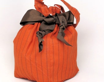 Pumpkin Stripes - Plum Creek Project Bag - Choice of Size -(O-002)
