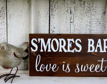 S'MORES BAR love is sweet 5 1/2 x 11 Self Standing Rustic Wedding Signs