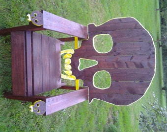SKULL CHAIR ,  PATTERN , plans only-------adirondack  chair, yard furniture,  cedar , skeleton themed Huge....king sized chair