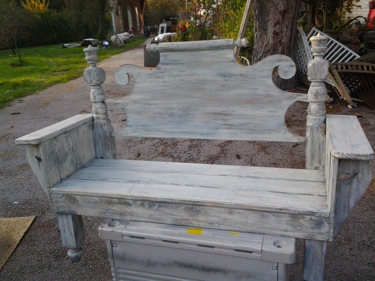 Shabby Chic Bench ~ Benches made from headboards shabby chic vintage