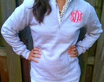 Ladies' Quarter Zip Monogram Pullover Sweatshirt