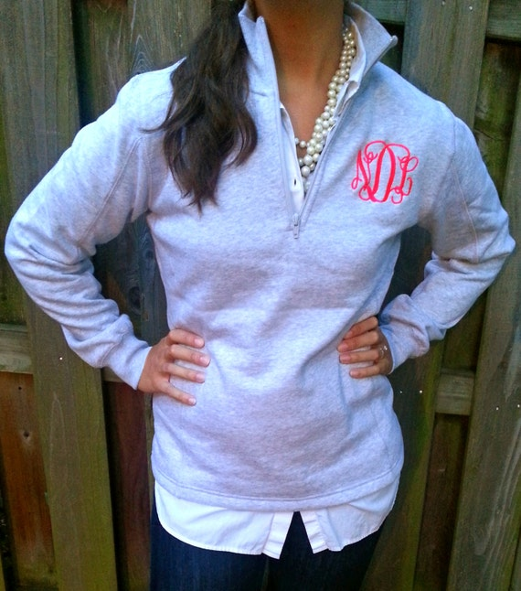 Ladies' Quarter Zip Monogram Pullover Sweatshirt