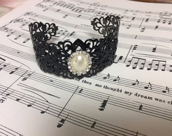 Hand forged filigree cuff bracelet - adorned with vintage pearl and rhinestone brooch