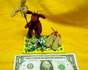 OOAK Handmade Twisted Satanic Devil Easter Bunny Diorama Creepy Scary Cute