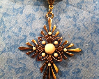 Goldtone Spiked Cross Necklace