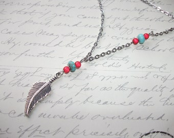 Red and turquoise feather necklace