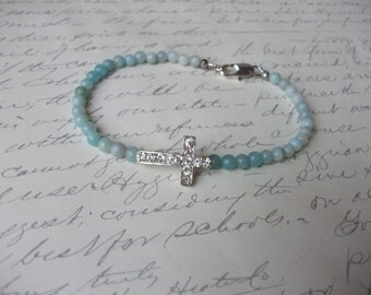 Sideway cross ombre amazonite gemstone bracelet