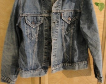 Vintage 60s 70s levis denim jean jacket size medium large mens 1980s 1990s L two front pocket