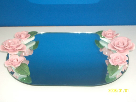 Antique Mirrored Tray 1940s Porcelain Rose Mirror Vanity Tray