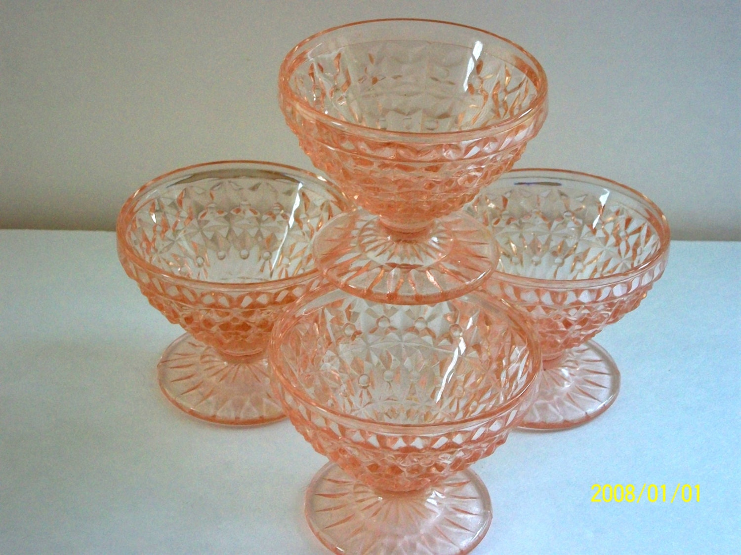 Pink depression glass desert dishes ice cream bowls 1930s for Cuisine 1930