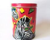SALE 1980s 1990s Crazy Party Zebra Confetti Tin