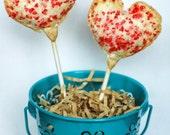 Heart Shaped Rhubarb Pie Pops (12) Edible Favor Valentines Gift Wedding, Birthday, Bridal Shower, Baby Shower, Edible Gift