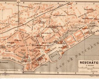 1907 Neuchâtel Switzerland, Antique Map, Swiss, French, Lake Neuchâtel, Neuenburg, Neuenburgersee, La Suisse, Montagnes Neuchâteloises, Jura