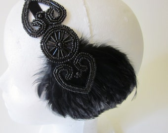 BLACK BEADED headpiece feather headband, beaded fascinator, flapper headband 1920s Accessories Gatsby accessories Black Headband