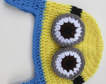Crocheted Minion Hat With Earflaps