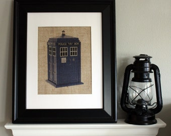 Doctor Who TARDIS on Burlap