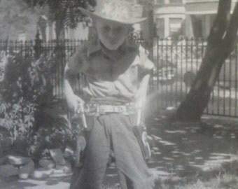 1950's Mama's Little Gunslinger Cowboy Screams - Draw Snapshot Photo - Free Shipping