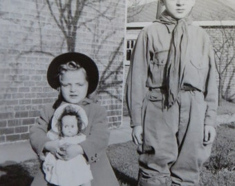 Cute 1940's Boy Scout In Uniform Snapshot Photo With His Little Sister And Her Doll - Free Shipping