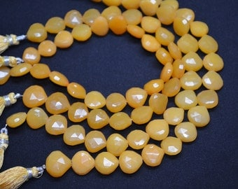 Rare Mango Chalcedony-8.5 Inch Strand-11-12mm-Natural Mango Chalcedony Faceted Heart Shape Briolette Beads