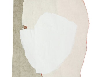 White Art, Pale Abstract Face, Fine Art Print from Contemporary Collage Paper Artwork