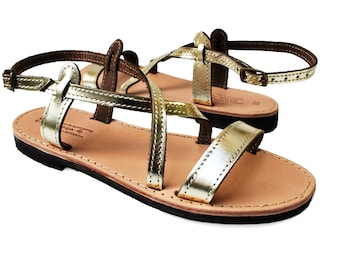 Gold Sandals, Ankle Strap Leather Sandals, metallic sandals
