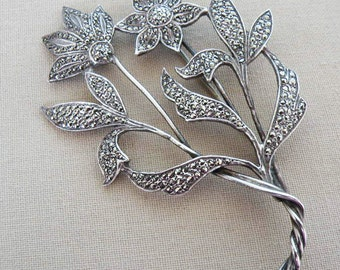 A125 - Fabulous Floral Sterling Silver Brooch Covered in Marcasites