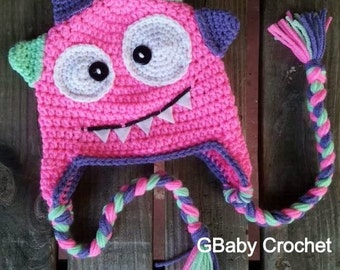 Crochet baby monster hat pink 0-5T