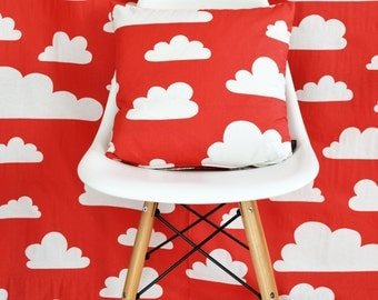 Swedish Scandinavian Farg & Form Kids Clouds fabric - Per metre - Red Clouds