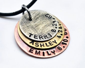 Personalized Necklace for Men, New Dad, Men Husband Son Father Dad Boyfriend Gift,Mixed Metal