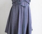 PHILOMENA Dress Artistic Plaited Quirky Original Avant Garde  Sleeveless Adjustable - Plus Size Maternity - Blue and Lilac Cotton Jersey