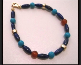 Natural Lapis Lazuli Seed Bead Carnelian Turquoise and Gold 7.5 inch Bracelet  One of a Kind