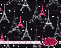ZEBRA PARIS Fabric by the Yard  Half Yard Fat Quarter Hot Pink Black Paris Eiffel Tower Fabric Quilting Apparel 100% Cotton Fabric a2-2
