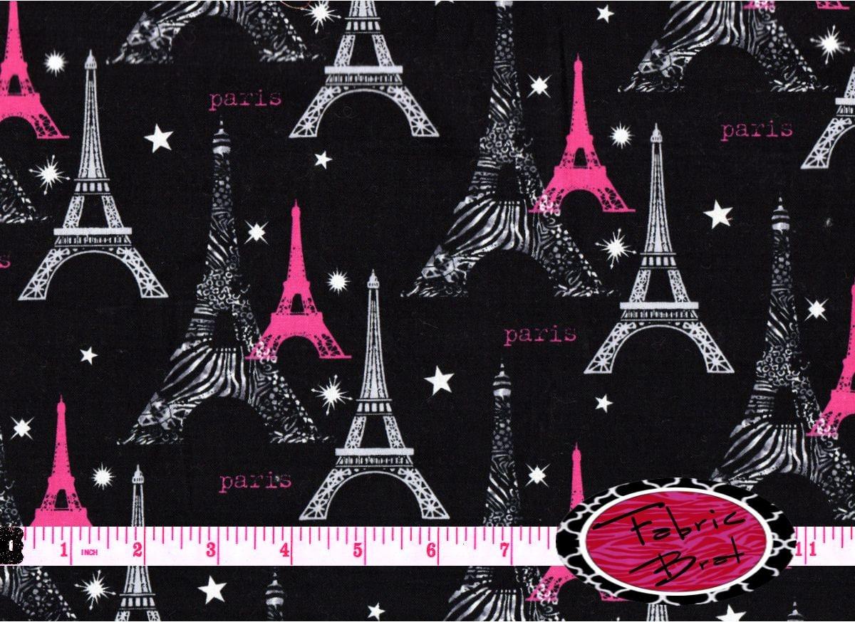 Zebra Paris Fabric By The Yard Half Yard Fat Quarter Hot Pink