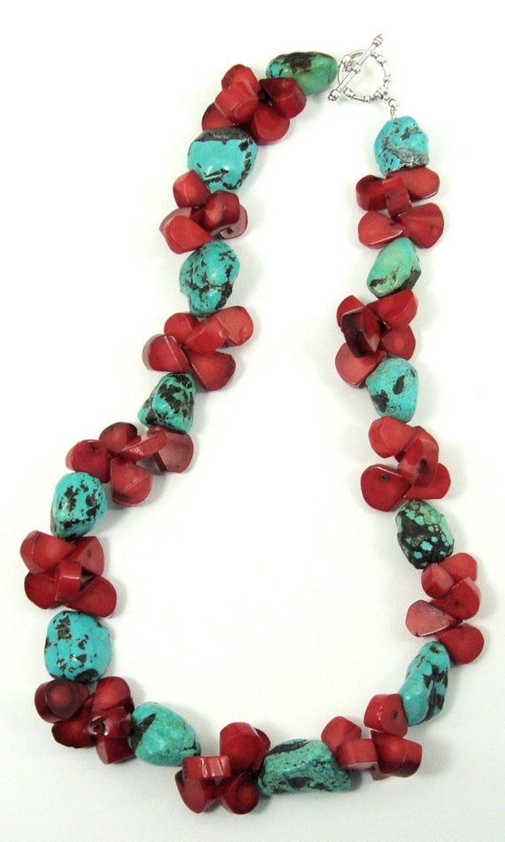 Turquoise and Red Coral Necklace, Turquoise Necklace, Coral Necklace, Red Coral Necklace