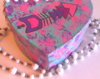 Bohemian Pink and purple Arrow heart shaped jewelry box and matching necklace for kids, tweens, teens, and girls