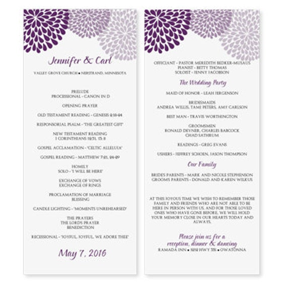 wedding program template download instantly edit yourself