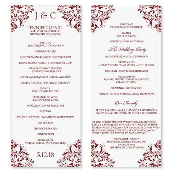 ... Wedding Program Templates For Microsoft Word Wedding program template