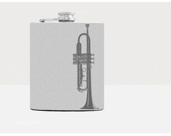 Trumpet Flask - Music themed gifts - Jazz - Gray - Gift for a jazz music lovers - Stainless steel / 8 oz