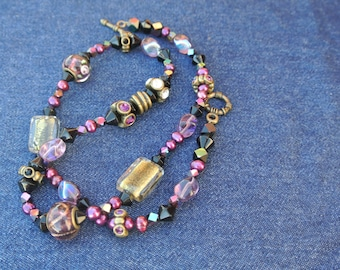 Charms of Magenta 22in Necklace- Beaded with Charms