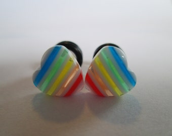 Translucent Rainbow Hearts Plugs - Available in 4g, 2g, and 0g
